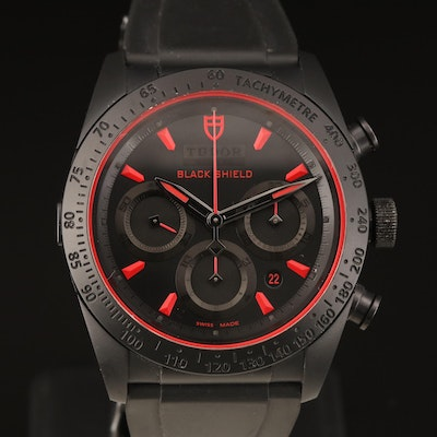 Tudor Black Shield Fast Rider Stainless Steel and Black PVD Wristwatch