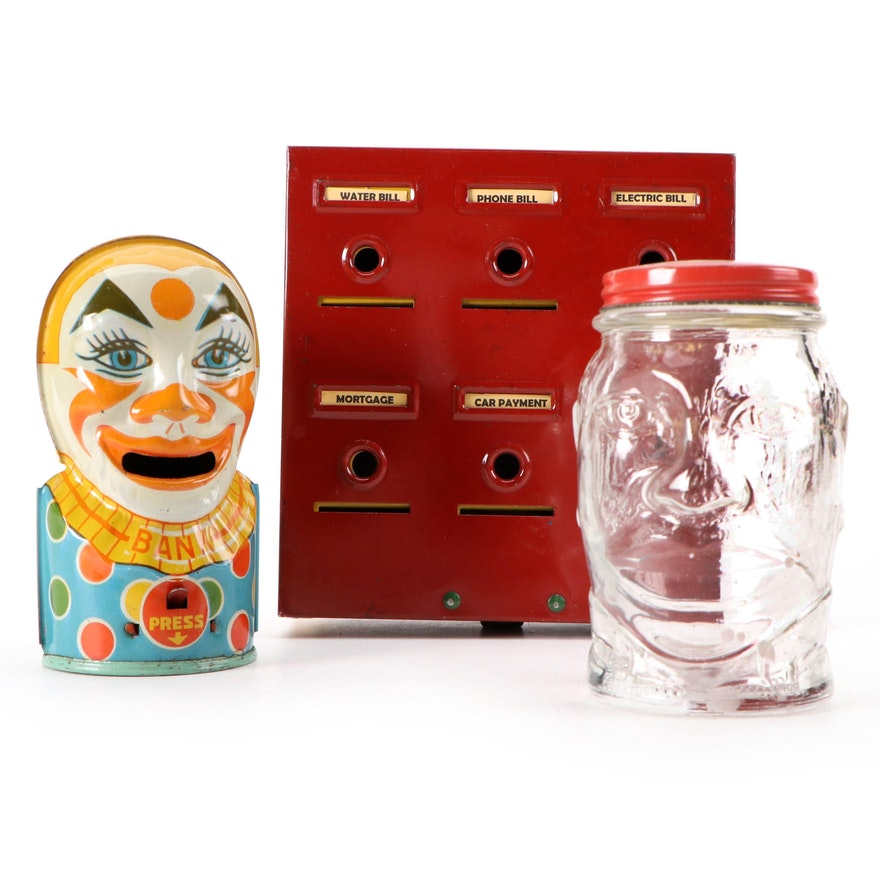 Home Budget Bank with J. Chein & Co. Clown Bank and Lucky Joe Bank