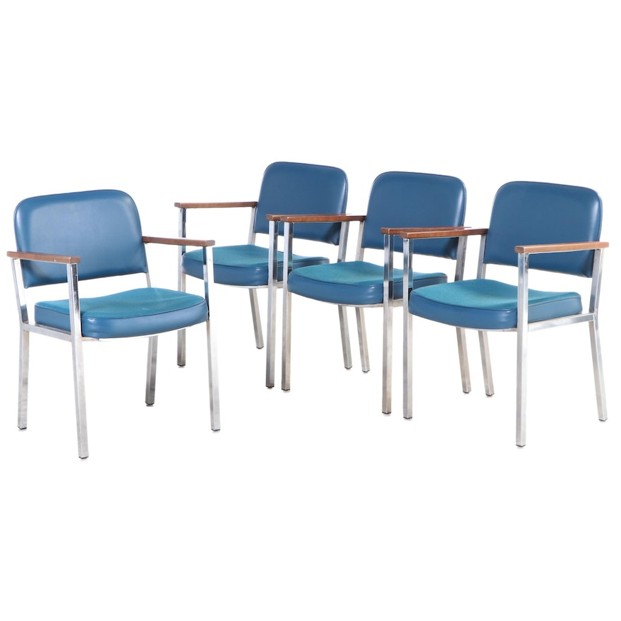 Modernist Global Upholstery Co. Chrome and Beech Armchairs, Late 20th Century