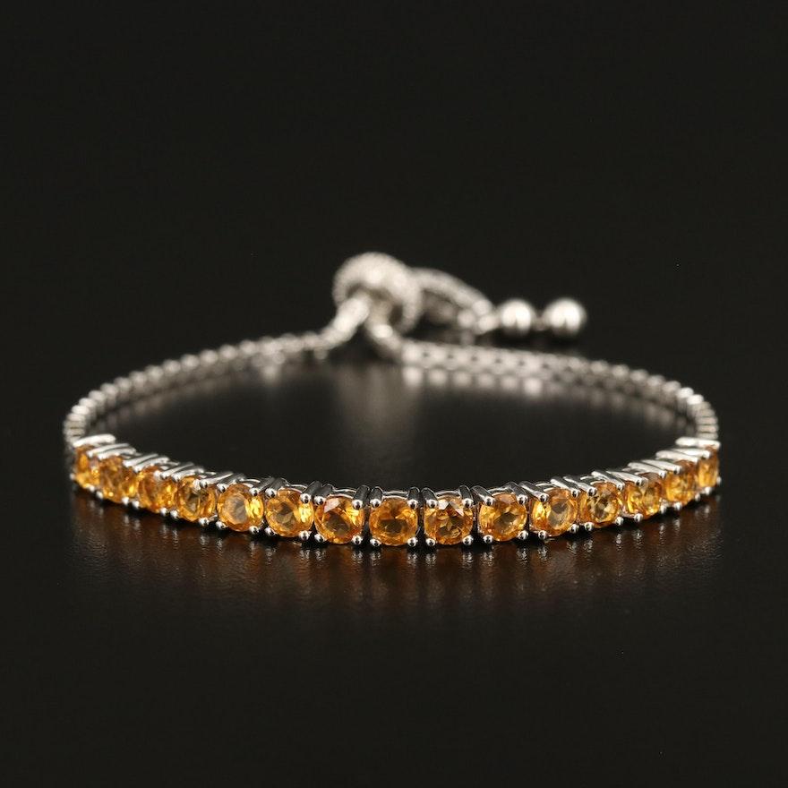 Sterling Citrine and Diamond Bolo Bracelet
