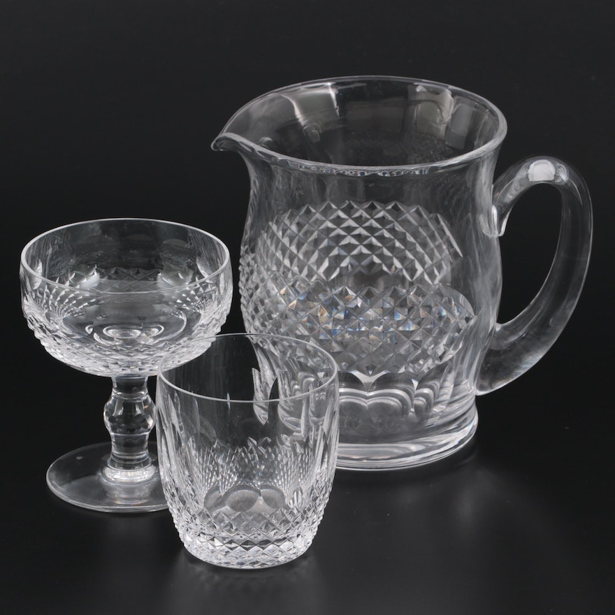 """Waterford Crystal """"Colleen Short Stem"""" Pitcher, Coupe and Old Fashioned Glass"""