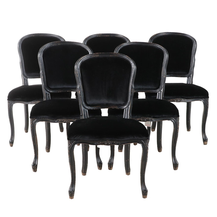 """Four Hands """"Orleans"""" Louis XV Style Ebonized Side Chairs"""