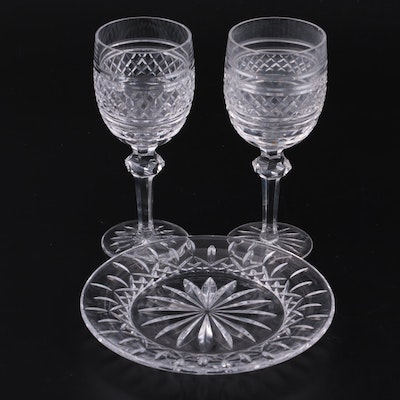"""Waterford Crystal """"Castletown"""" Goblets  and """"Lismore"""" Accent Plate"""