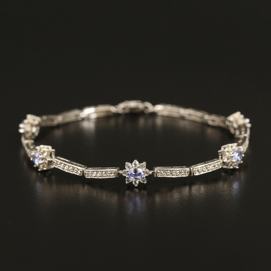 Sterling Tanzanite and Zircon Flower Bracelet