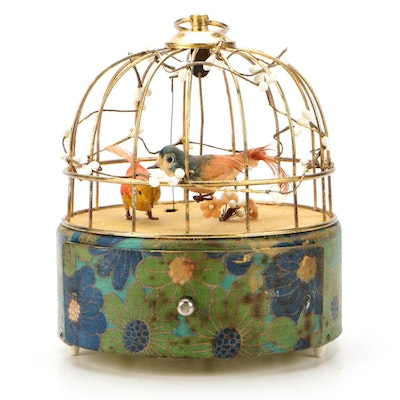 Singing Bird in Cage Automaton Jewelry Box, Mid to Late 20th Century