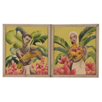 Hand-Colored Photomechanical Print Portraits, Mid-20th Century