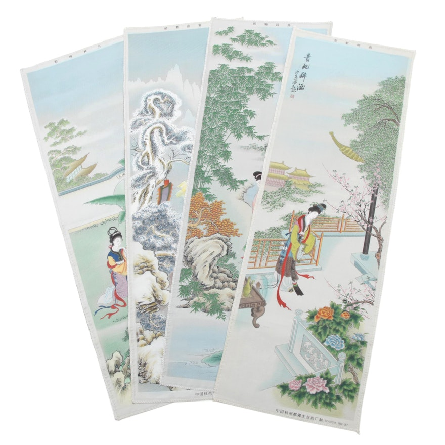 Chinese Machine Woven and Hand-Painted Tapestry Panels