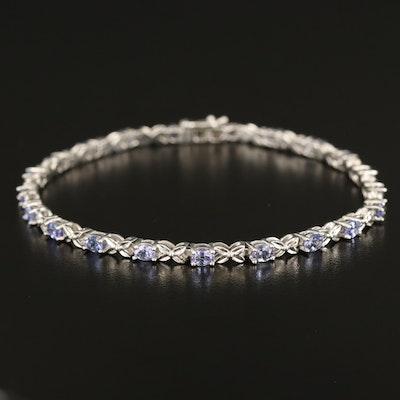 Stering Tanzanite Fancy Link Bracelet