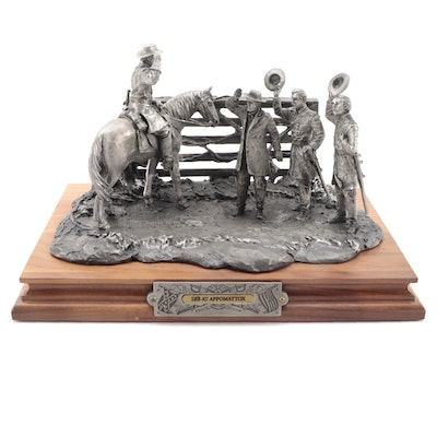 """Francis Barnum for Chilmark """"Lee at Appomattox"""" Pewter Sculpture, 1999"""
