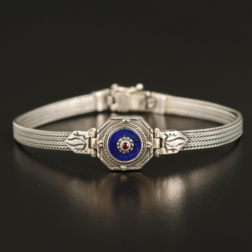 Kionas 950 Silver Lapis Lazuli and Garnet Bracelet