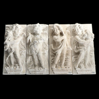 Plaster Relief Panels Depicting Putti as The Four Seasons