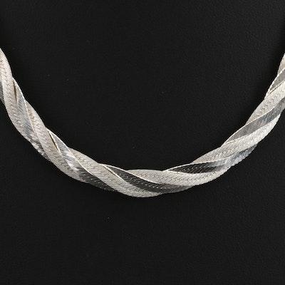 Milor Sterling Braided Herringbone Chain