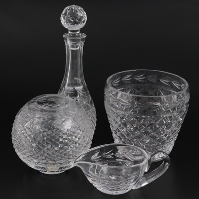 """Waterford Crystal """"Glandore"""" Decanter, Ice Bucket, Rose Bowl, and Sauce Boat"""