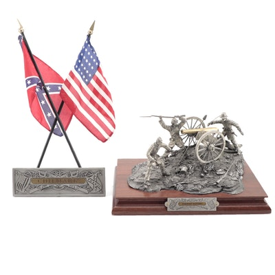 """Fran Barnum for Chilmark """"Parsons' Battery"""" Pewter Sculpture and Flag Stand"""