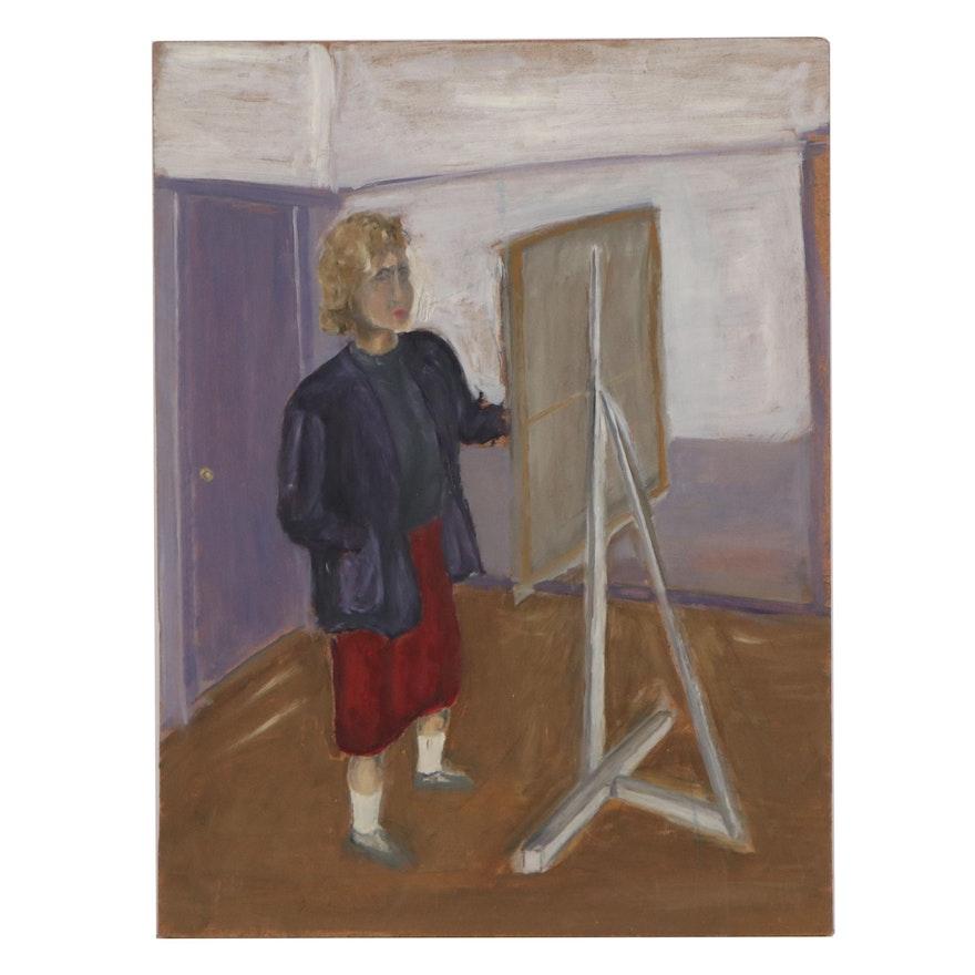 Oil Portrait of Artist, Late 20th Century