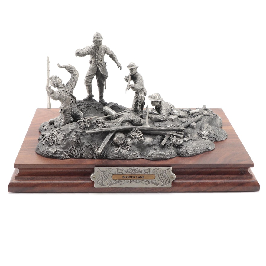 """Francis Barnum for Chilmark """"Bloody Lane"""" Pewter Sculpture, 1997"""