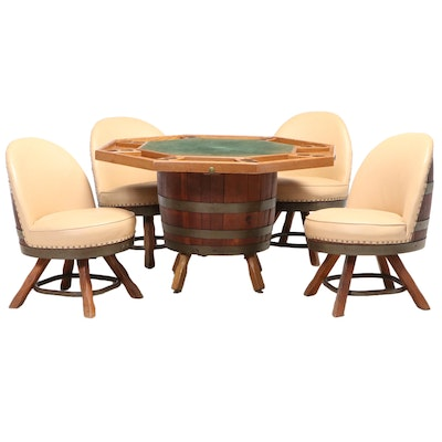 Staved Oak and Metal-Bound Barrel Games Table and Four Swivel Chairs