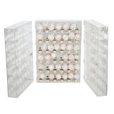 Signed Baseballs with Three Wall Hanging Baseball Display Cases, COA