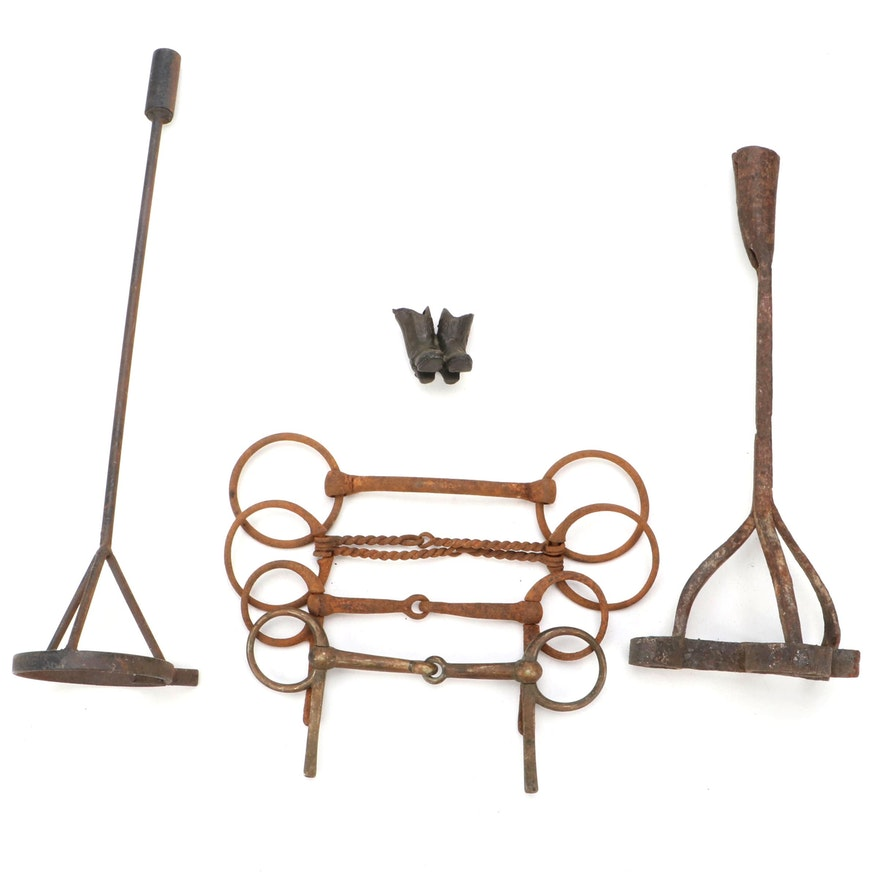 Cast Iron and Metal Half Cheek Snaffle Bits, Branding Irons and Figurine