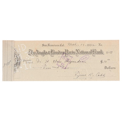 1932 Tyrus R. Cobb  Signed Personal Banking Check, JSA Full Letter
