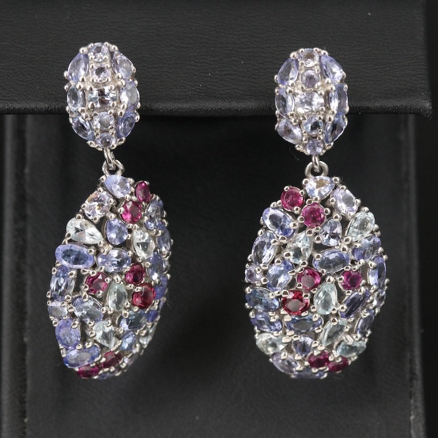 Sterling Cluster Drop Earrings with Aquamarine, Tanzanite and Rhodolite Garnet