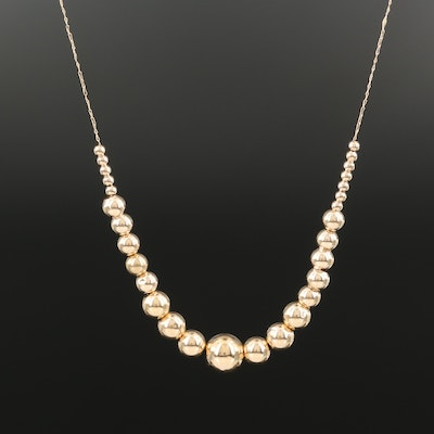 """14K Graduated """"Add-a-Bead"""" Necklace"""