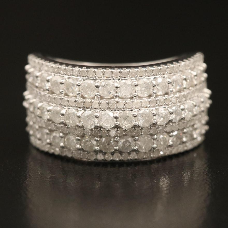 Sterling 1.67 CTW Diamond Multi-Row Ring