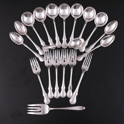 """Towle """"French Provincial"""" Sterling Silver Flatware with Alvin Serving Fork"""