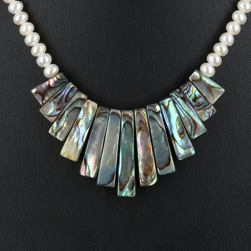 Abalone and Pearl Fringe Necklace with 14K Clasp