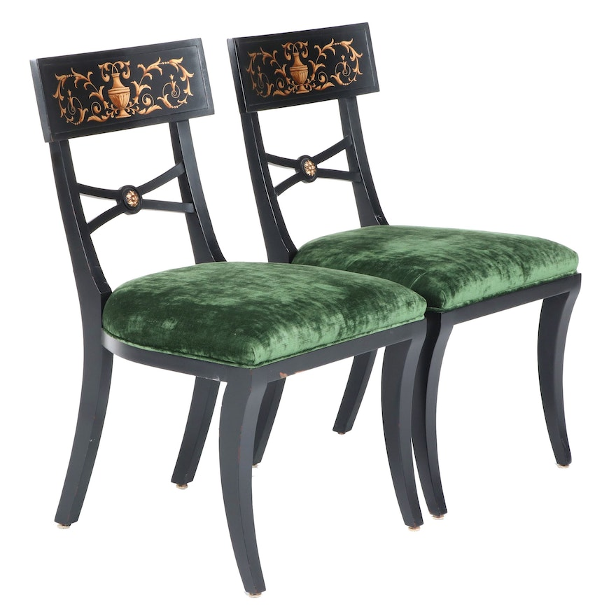 Pair of Neoclassical Style Ebonized and Gilt-Decorated Klismos Chairs