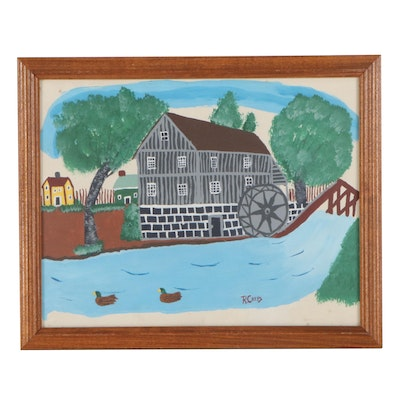 Folk Style Gouache Painting of Watermill, Late 20th Century