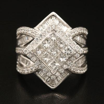 Sterling Diamond Geometrical Cluster Ring with Cubic Zirconia