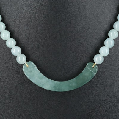 Jadeite Stationary Bar and Beaded Necklace with 14K Clasp