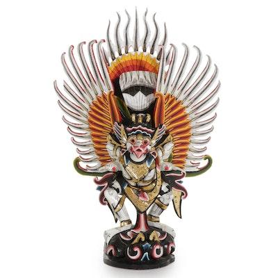 Indonesian Garuda Polychromed Wood Hindu Temple Statue