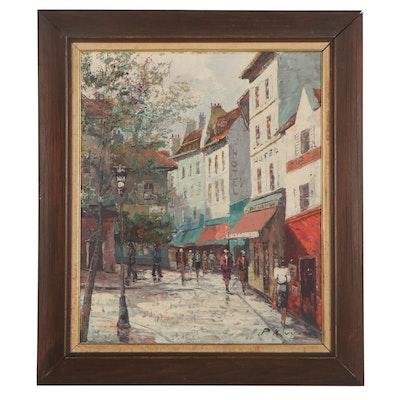 Paul Kovy Cityscape Oil Painting, Mid-20th Century