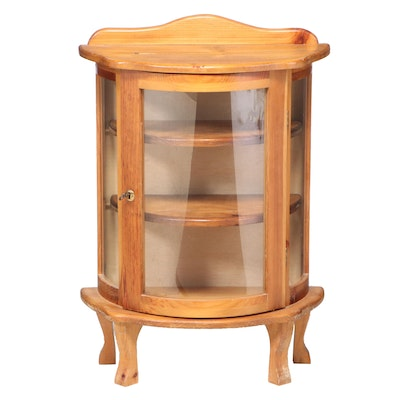 Small American Primitive Style Pine and Curved Glass Display Cabinet