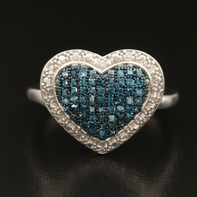 Sterling Pavé Diamond Heart Ring with Cubic Zirconia