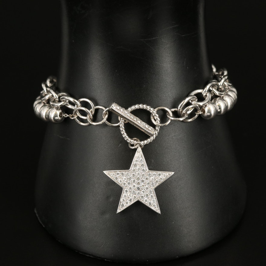 Sterling Bracelet with Zircon Star Charm