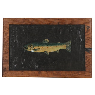 Hand-Painted Wood Carving of Fish, Late 20th Century