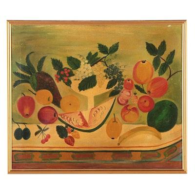 Still Life Oil Painting of Fruit, Mid-20th Century