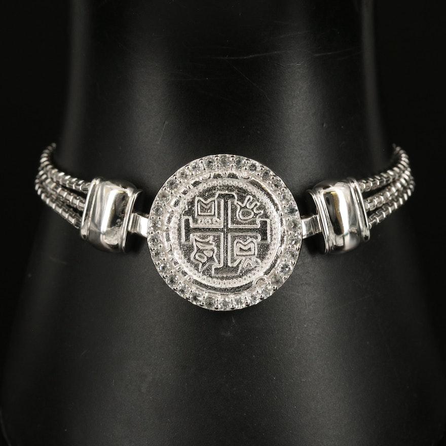 Sterling Zircon Teutonic Cross Bracelet