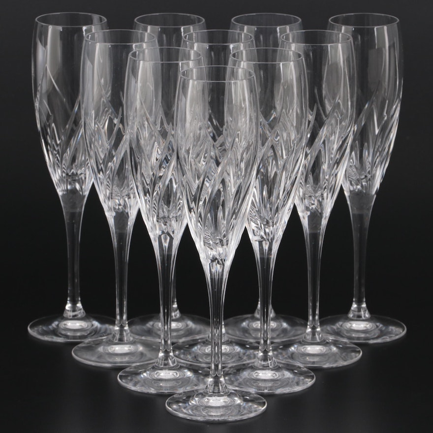 """Marquis by Waterford """"Summer Breeze"""" Crystal Champagne Flutes"""