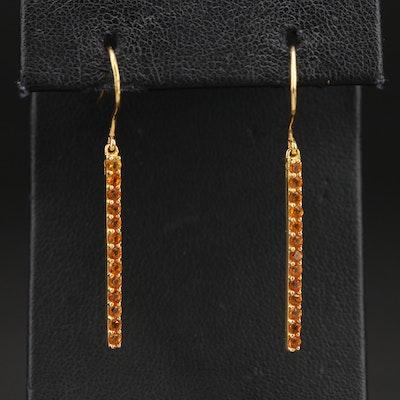 Sterling Citrine Line Earrings