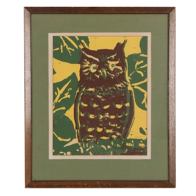 Lawton Snyder Serigraph of Owl, Late 20th Century