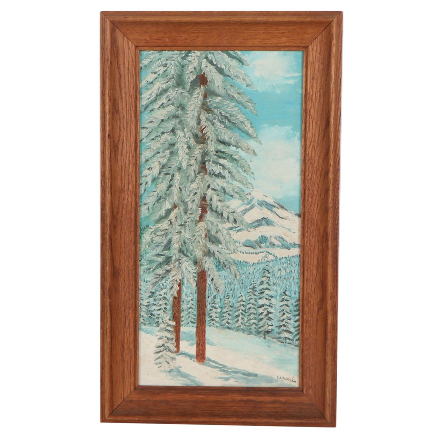Edwin Pebley Winter Landscape Oil Painting, 1960