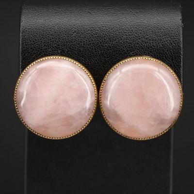 Rose Quartz Button Clip Earrings
