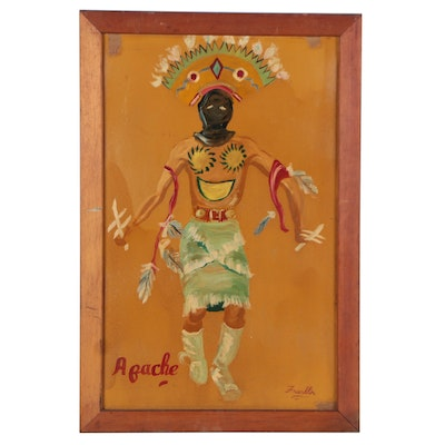 """Figurative Oil Painting """"Apache,"""" Mid-20th Century"""