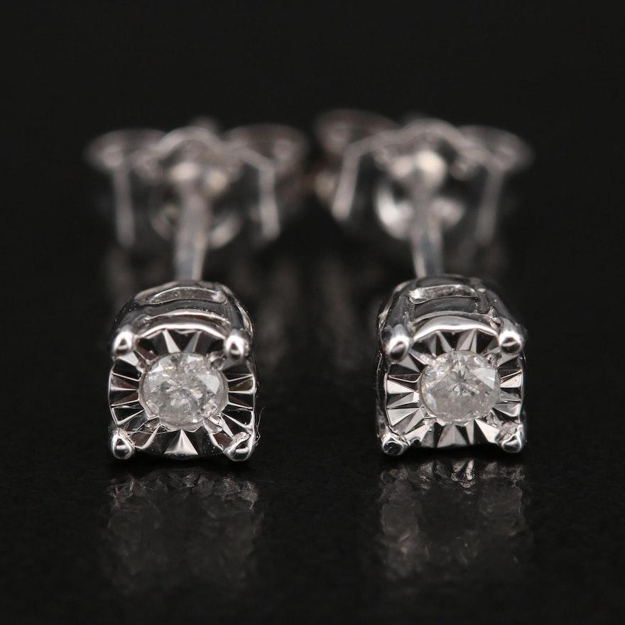 Sterling Illusion Set Diamond Stud Earrings