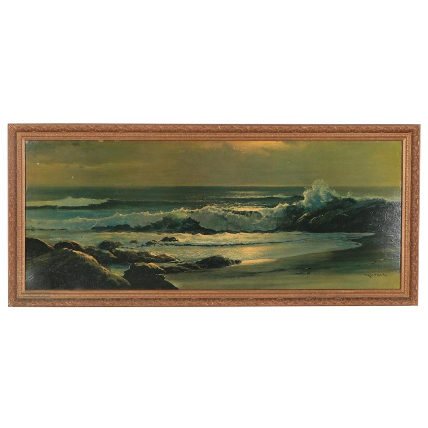 """Offset Lithograph After Robert Wood """"Golden Surf"""""""
