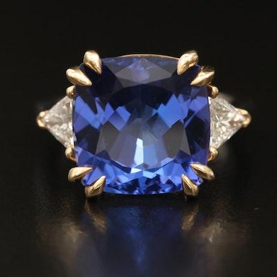 18K 8.66 CT Tanzanite and 0.63 CTW Diamond Ring